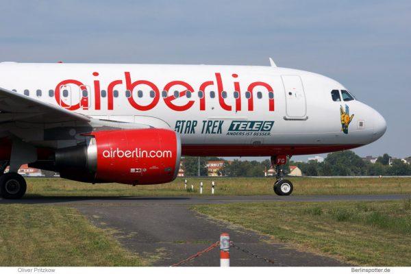 Air Berlin Airbus A320-200 D-ABFG, Star Trek Tele 5 (Berlin TXL 28.8. 2016)