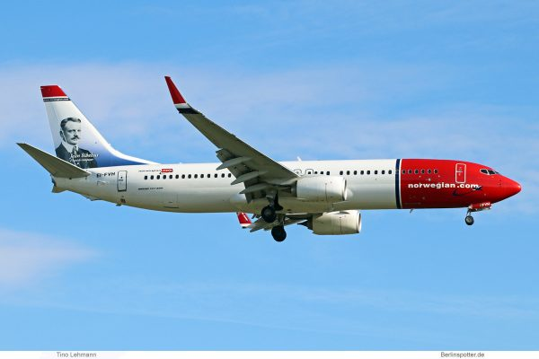 Norwegian Air International, Boeing 737-800(WL) EI-FVH, Jean Sibelius im Tail (SXF 7.5. 2017)