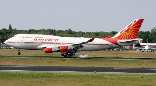Air India, Boeing 747-400 VT-EVA (TXL 29.5. 2017)