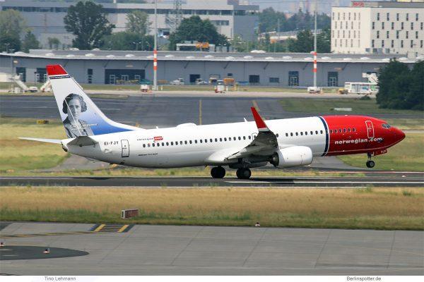 Norwegian Air International, Boeing 737-800(WL) EI-FJY, Clara Campoamor im Tail (SXF 6.6. 2017)