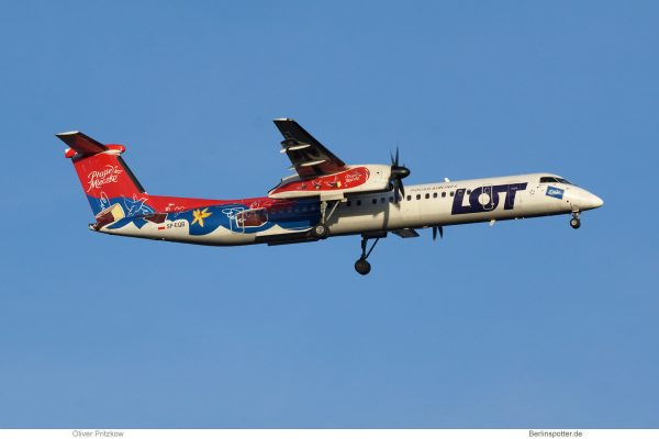 LOT Polish Airlines, Bombardier Q400 SP-EQB, Ptasie Mleczko-Bemalung (TXL 27.12. 2017)