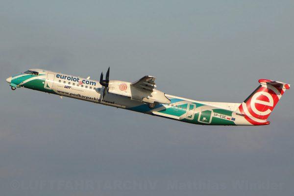 euroLOT Bombardier Q400 SP-EQE, Podkarpackie-Travel-Bemalung (TXL 7.12. 2017)