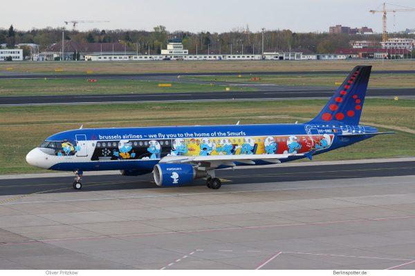 Brussels Airlines, Airbus A320-200 OO-SND, Schlümpfe-Bemalung (TXL 15.4. 2018)