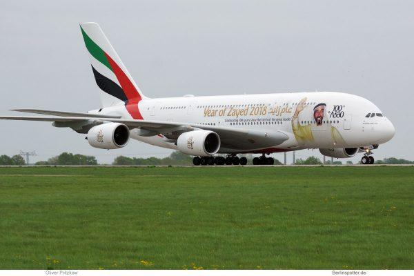 Emirates, Airbus A380-800 A6-EUV (ILA SXF 24.4. 2018)