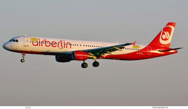 Condor, Airbus A321-200 D-ATCA, ex-Air-Berlin cs., Niki-Sticker (SXF 8.5. 2018)