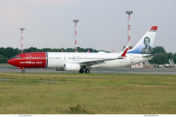 Norwegian Air International, Boeing 737-800(WL) EI-FVZ, Jan Baalsrud im Tail (SXF 31.5. 2018)