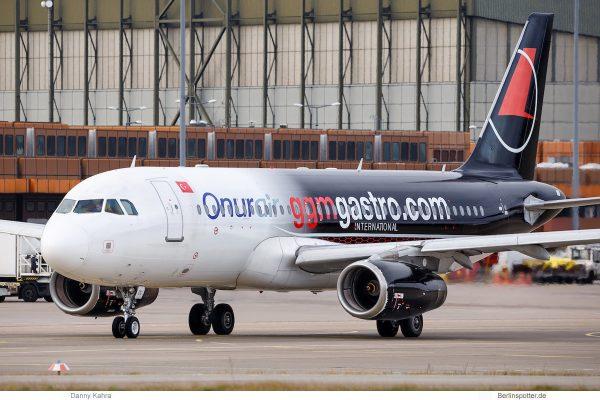 Onur Air, Airbus A320-200 TC-ODC, GGM Gastro cs. (TXL 6.1.2019)