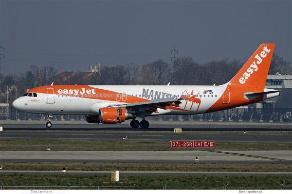 easyJet Europe Airbus A320-200(SL) OE-IVK, Nantes-Sticker (SXF 23.3.2019)