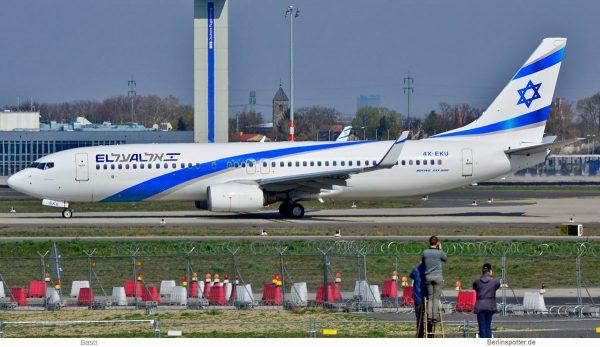 El Al Israel Airlines, Boeing 737-800(WL) 4X-EKU (SXF 4.4.2019)