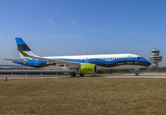 Air Baltic, Airbus A220-300 YL-CSJ, Estland-Bemalung (TXL 30.6.2019)