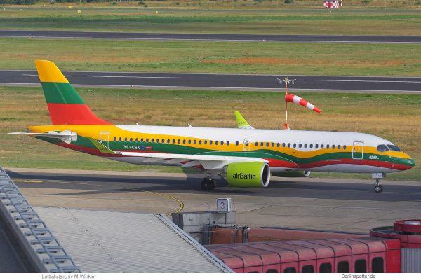 Air Baltic, Airbus A220-300 YL-CSK, Litauen-Bemalung (TXL 13.8.2019)
