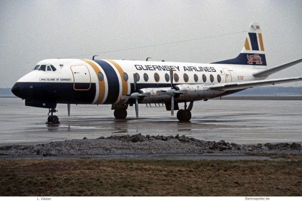 Guernsey Airlines, Vickers 806 Viscount G-AOYI (TXL 1.2.1984)