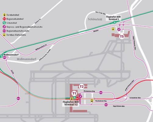 S-Bahn und Busverkehr zwischen den BER-Terminals (Grafik: VBB/FBB)