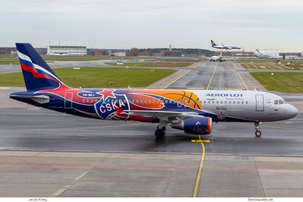 Aeroflot, Airbus A320-200 VQ-BEJ, PBC CSKA Moskau-Bemalung (SXF 16.12.2019)