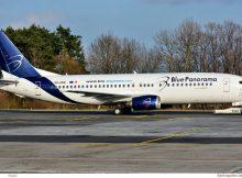 Blue Panorama, Boeing 737-400 9H-HUE, ex Valorfly-Bemalung (SXF 26.3. 2018)
