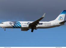 Egypt Air, Boeing 737-800(WL) SU-GEH, 85-Jahre-Sticker (SXF 25.9.2018)