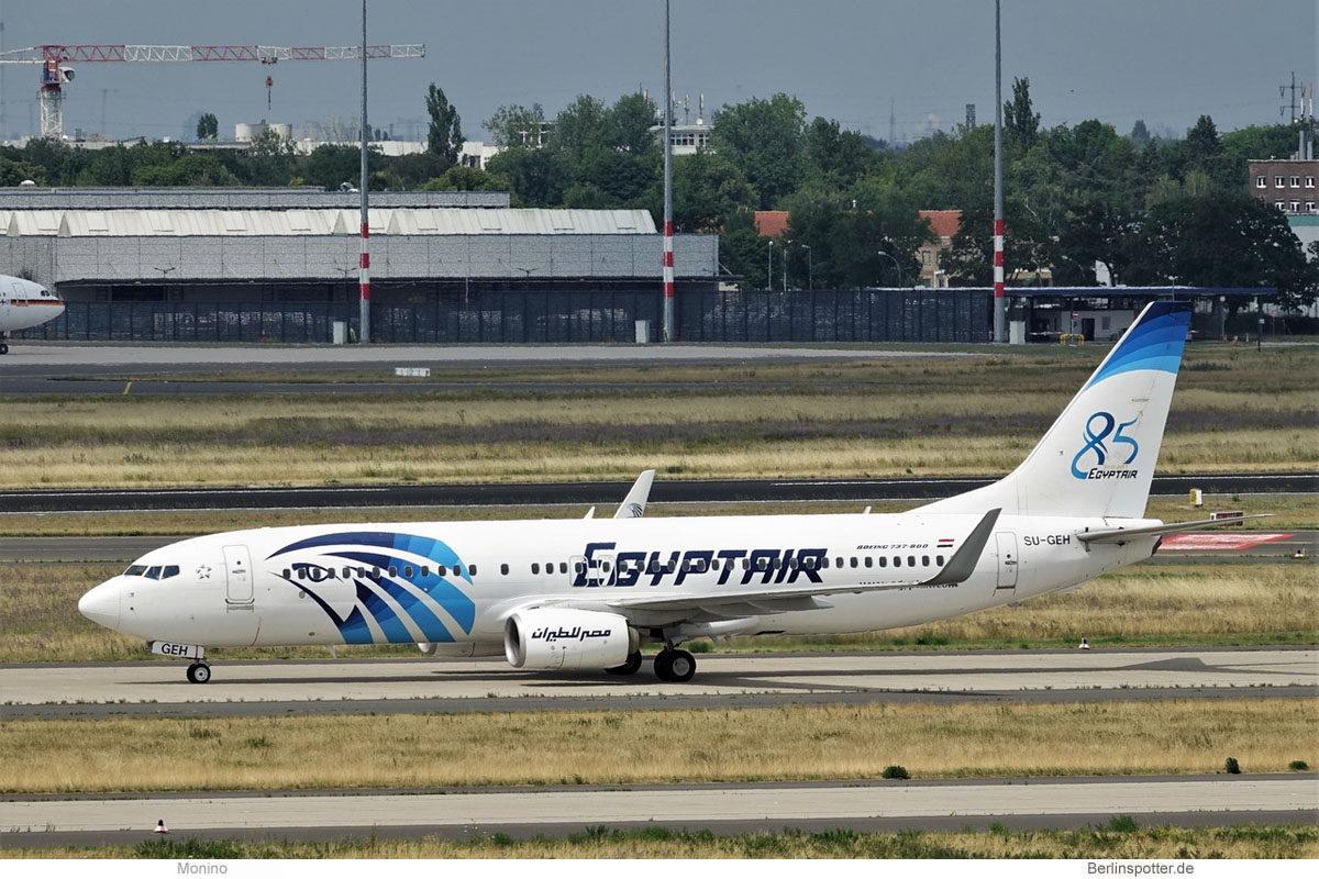 Egypt Air, Boeing 737-800(WL) SU-GEH, 85-Jahre-Sticker (BER 13.7.2021)