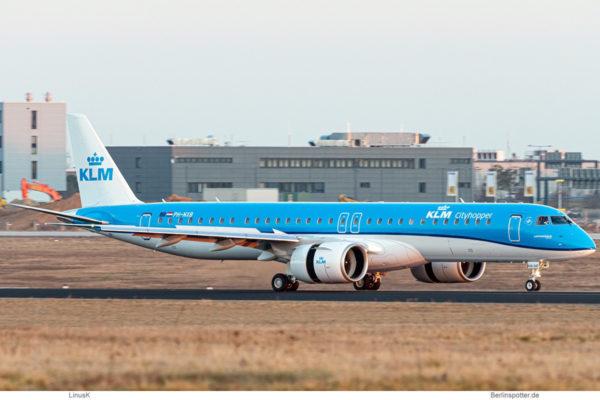 KLM cityhopper, Embraer 195E-2 PH-NXB (BER 2.3.2021)