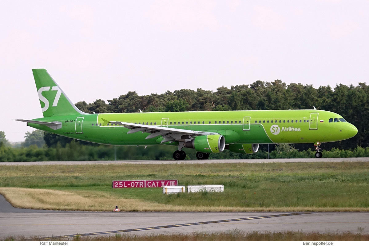 S7 Airlines, Airbus A321-200 VQ-BQJ (BER 8.6.2021)