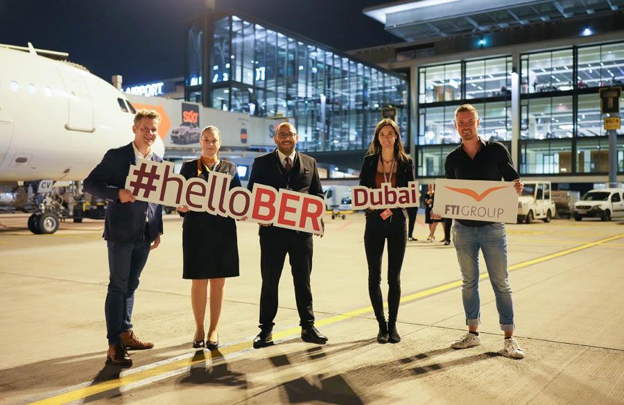 Erstflug nach Dubai am Abend des 4. Oktober 2021 (Foto: O. Lang, FBB)